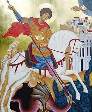 Icona custodita nella chiesa di San Giorgio Extra, raffigurante San Giorgio mentre uccide il drago; sullo sfondo il Duomo e la città di Reggio Calabria.